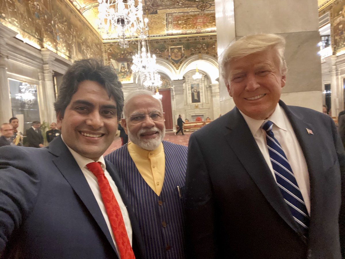 Sudhir Chaudhary with Prime Minister Narendra Modi and US President Donald Trump