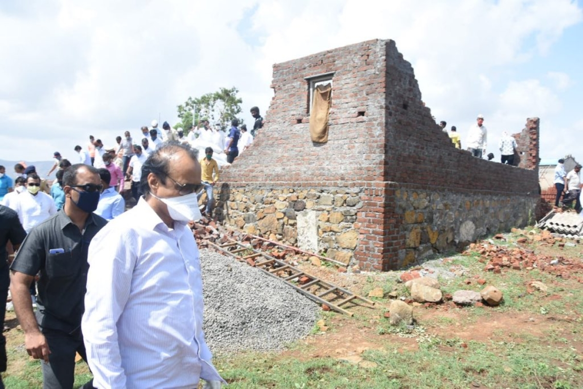 Maha DCM Ajit Pawar visits areas affected by Cyclone Nisarga in Pune district; interacts with farmers, villagers