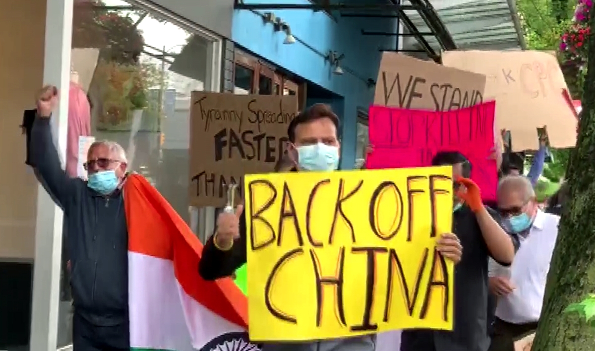 Indian community members hold an anti-China protest outside the Chinese Consulate office in Vancouver