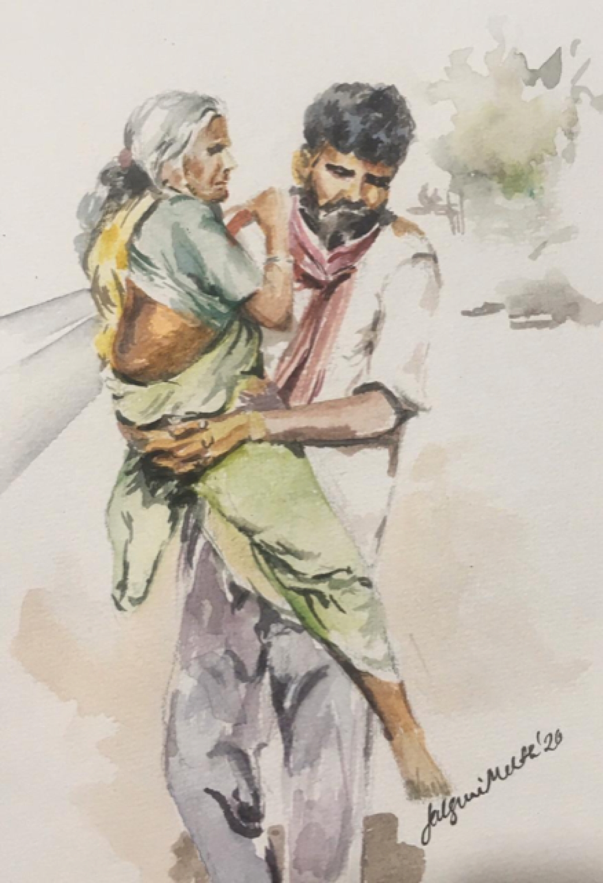 I don't have shelter, hope, help or money in the city. But that is no reason to abandon my mother.  The love for her has nothing to do with materialistic needs. I shall carry her to sanity and life!