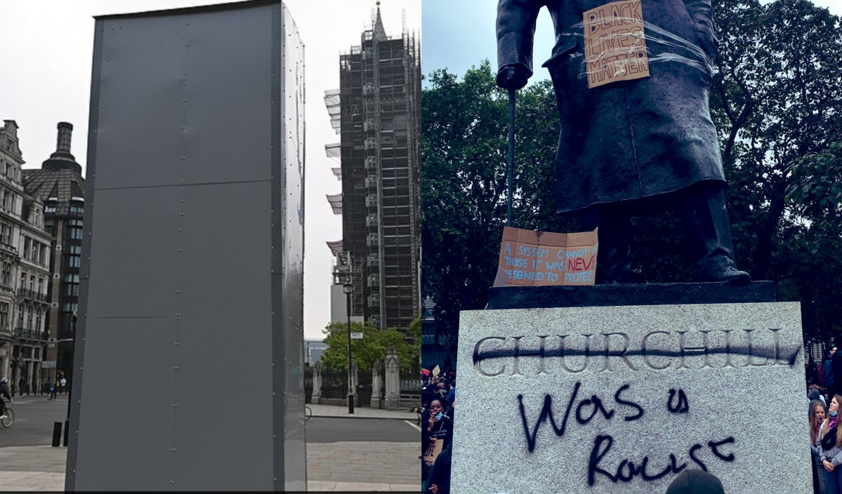 After being daubed 'racist', Winston Churchill statue 'boarded up' over vandalism fears