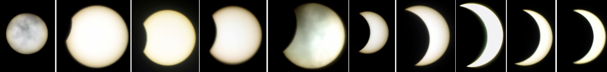 A combo pic of shows variou phase of solar eclipse as seen in the sky from Bhopal on Sunday