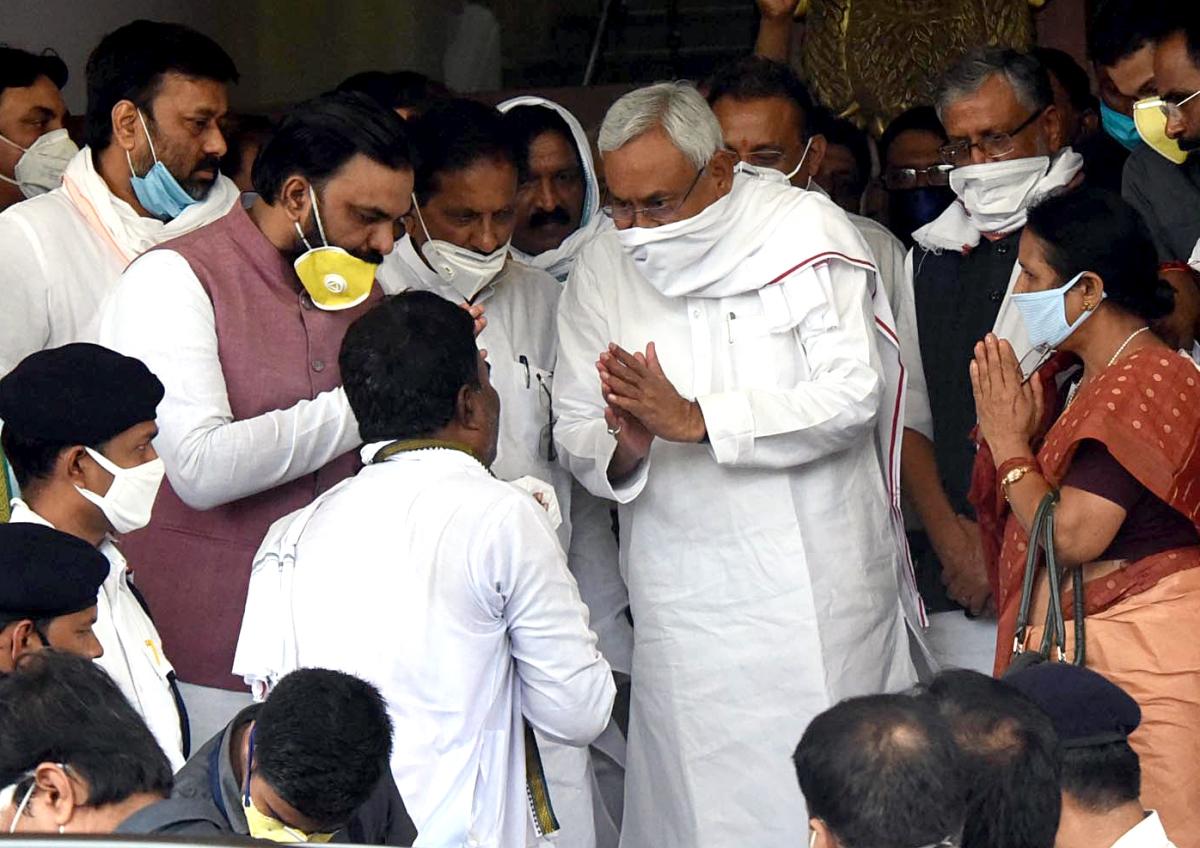 Bihar Chief Minister Nitish Kumar with NDA candidates Ghulam Gaus, Bhishma Sahni, Kumud Verma, Sanjay Mayukh, Samrat Chaudhary after filing nomination for Legislative Council Polls, at Bihar Vidhan Sabha in Patna on Thursday