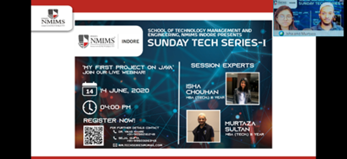 SVKM's NMIMS Indore organises The Sunday Tech Series-I: My First Project on JAVA