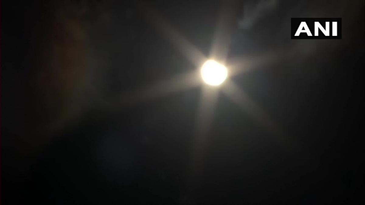 Haryana: #SolarEclipse2020 as seen in the skies of Kurukshetra.