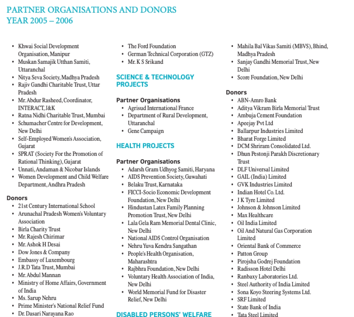 Prime Minister's National Relief Fund is listed in the first row, second from bottom in the 2005-06 annual report