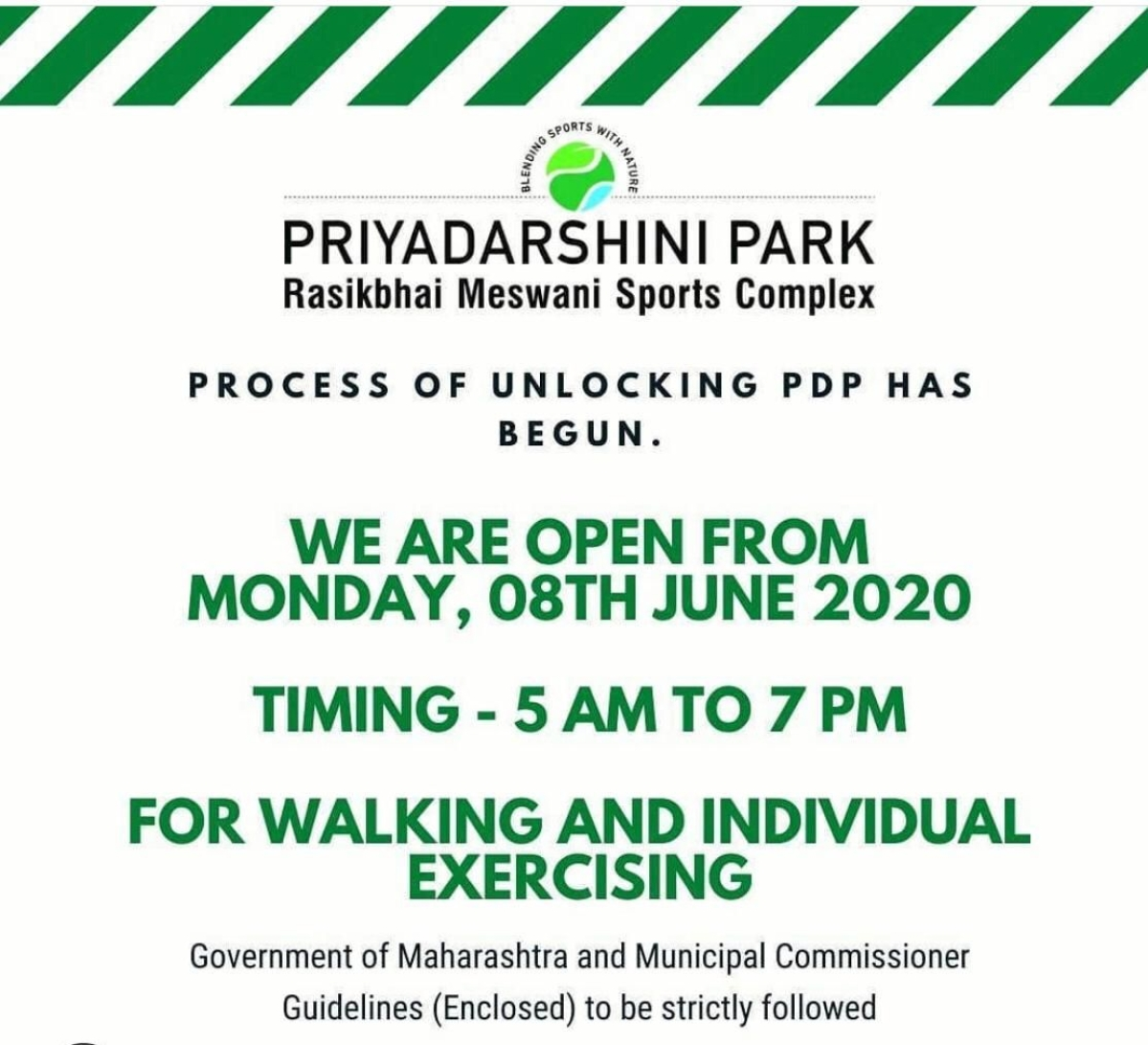 Priyadarshini Park opens up for joggers.