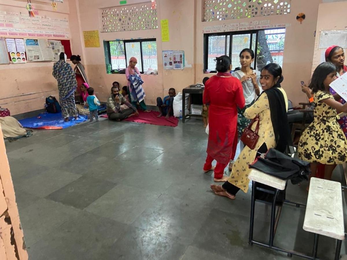 Residents in Mahim taking refuge in a municipal school
