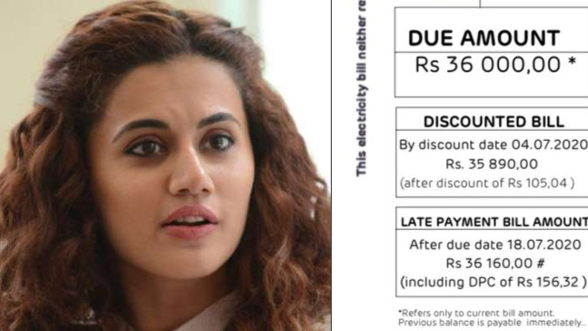 'What kind of power are you charging us for?: Taapsee Pannu furious after Adani Electricity charges Rs 36,000 for June month