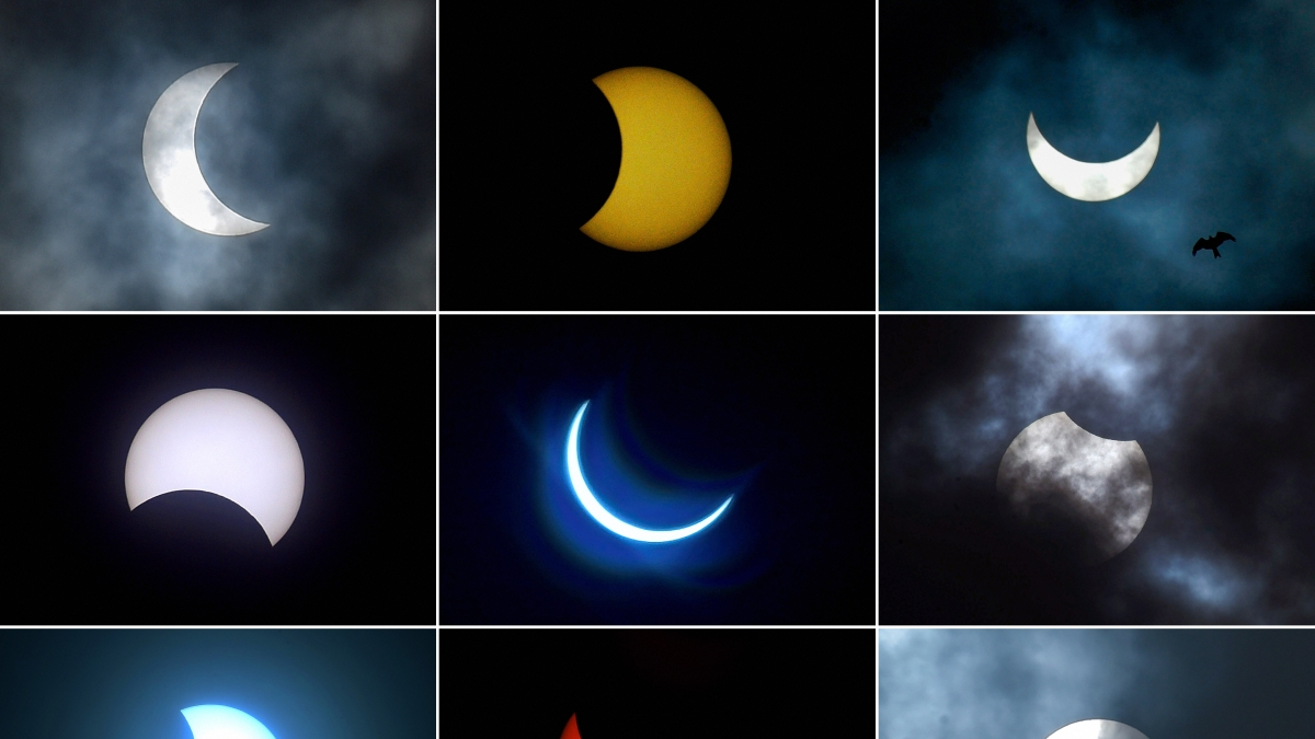 Combination of nine photos, shows the moon moving in front of the sun during the annular solar eclipse as seen from (top L to R) Kolkata, Coimbatore, Hyderabad, (center L to R) Bengaluru, Ghaziabad, Patna and (bottom L to R) Chennai, New Delhi, and Mumbai, on Sunday, June 21, 2020.