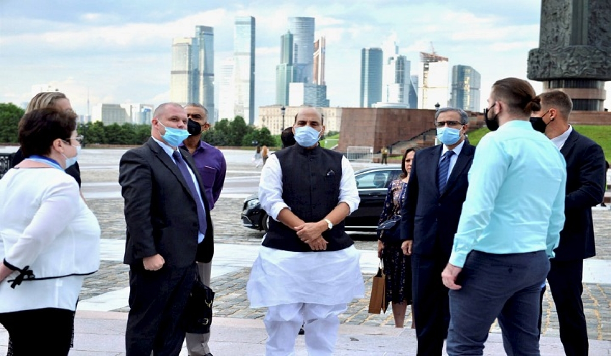 Defence Minister Rajnath Singh visits the Victory Park, a monument dedicated to Russia's victory in World War II, in Moscow.
