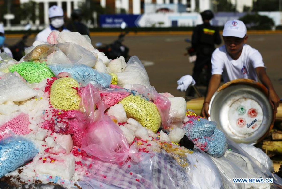Drugs are piled up before being burnt down during a ceremony in Phnom Penh, Cambodia, on June 26, 2020. Cambodia on Friday burned down 477.7 kg of illicit drugs to mark the International Day Against Drug Abuse and Illicit Trafficking, officials said.
