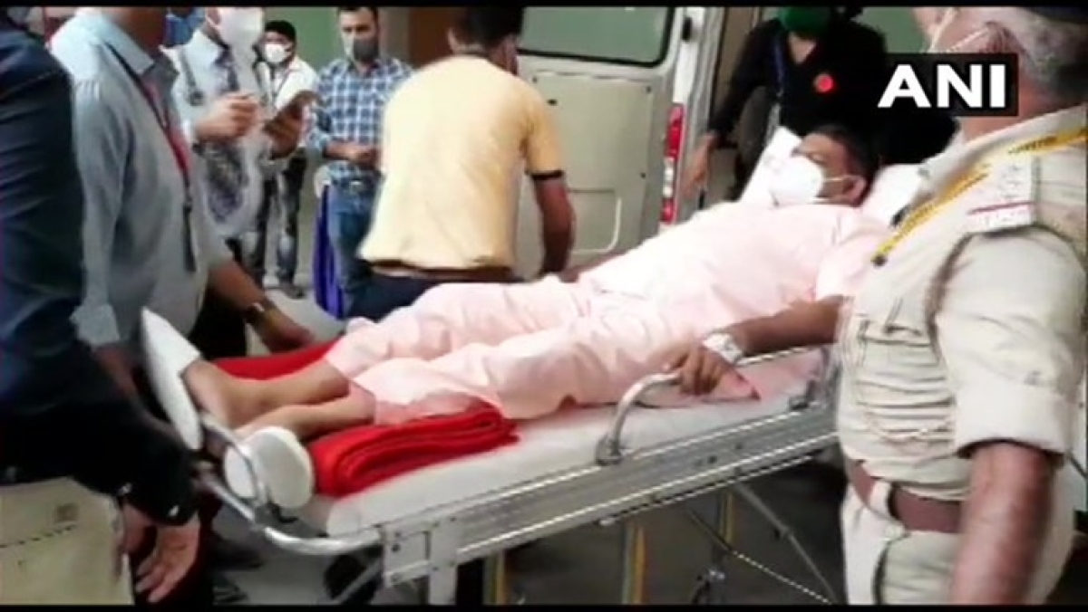 Rajya Sabha Election: BJP MLA Kesarisinh Solanki arrives in ambulance to cast vote in Gujarat