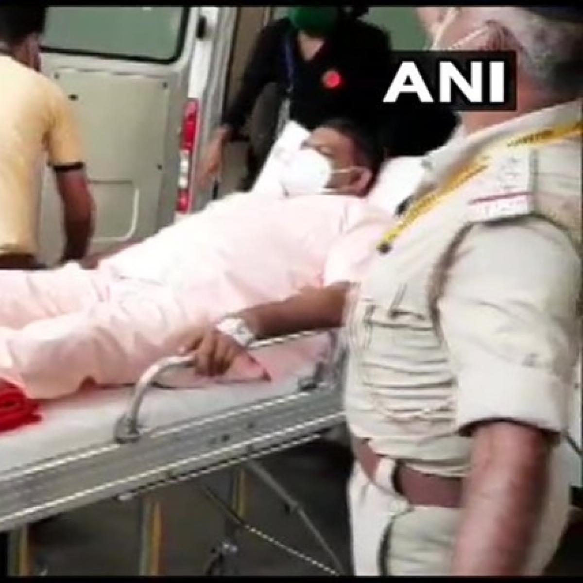 Rajya Sabha Election: BJP MLA Kesarisinh Solanki arrives in ambulance to cast vote in Gujarat