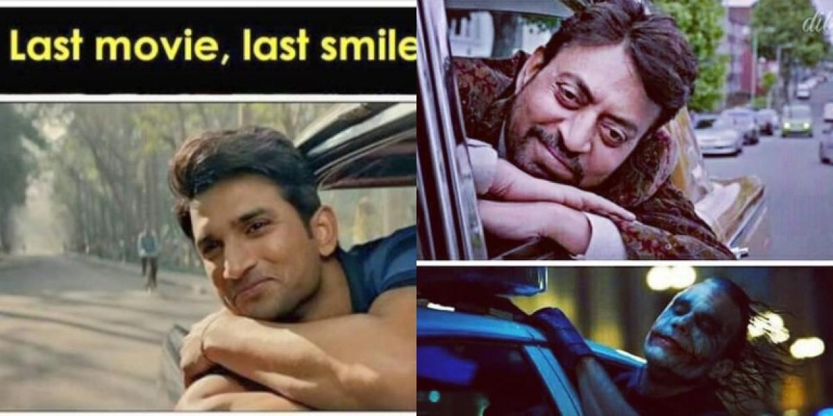 Identical scenes from Sushant Singh Rajput, Irrfan Khan and Heath Ledger's last films go viral