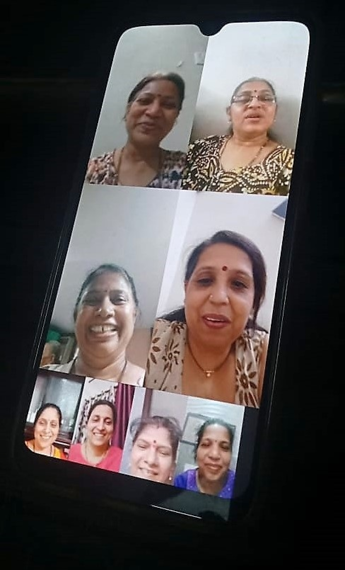 Smita Raje on Google Duo with her college friends