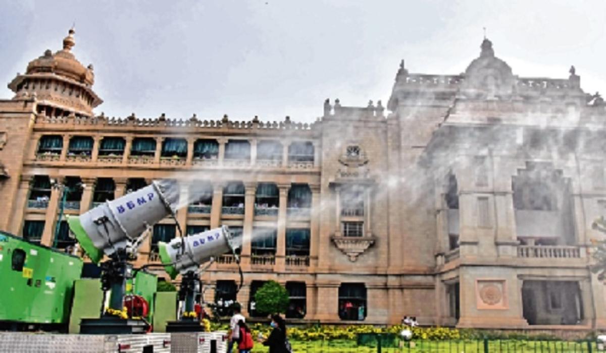 BBMP vehicle spraying disinfectant solution at Vidhana Soudha in Bengaluru on Monday.