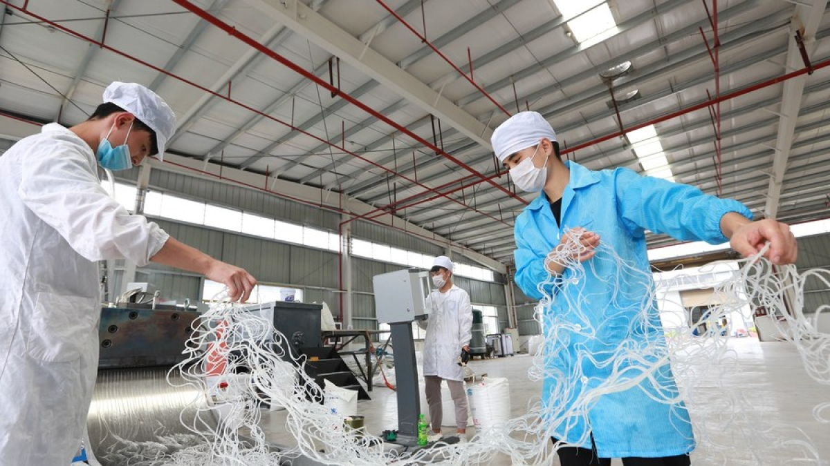 Relocated rural residents work at a local pharmaceutical company in Songtao Miao Autonomous County, southwest China's Guizhou Province, June 17, 2020. (Photo by Wu Weidong/Xinhua)