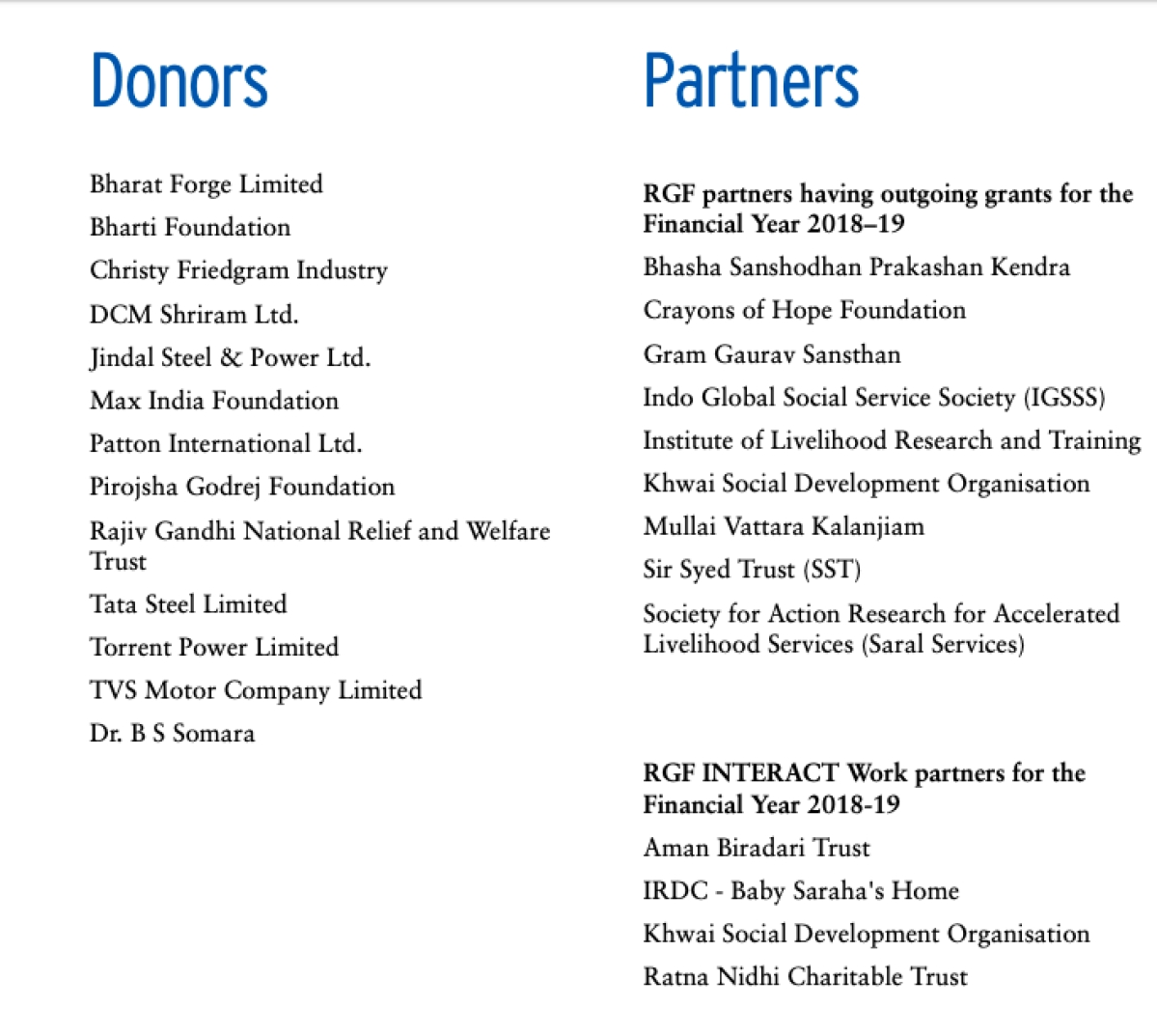 The donors and partners to Rajiv Gandhi Foundation in the last financial year