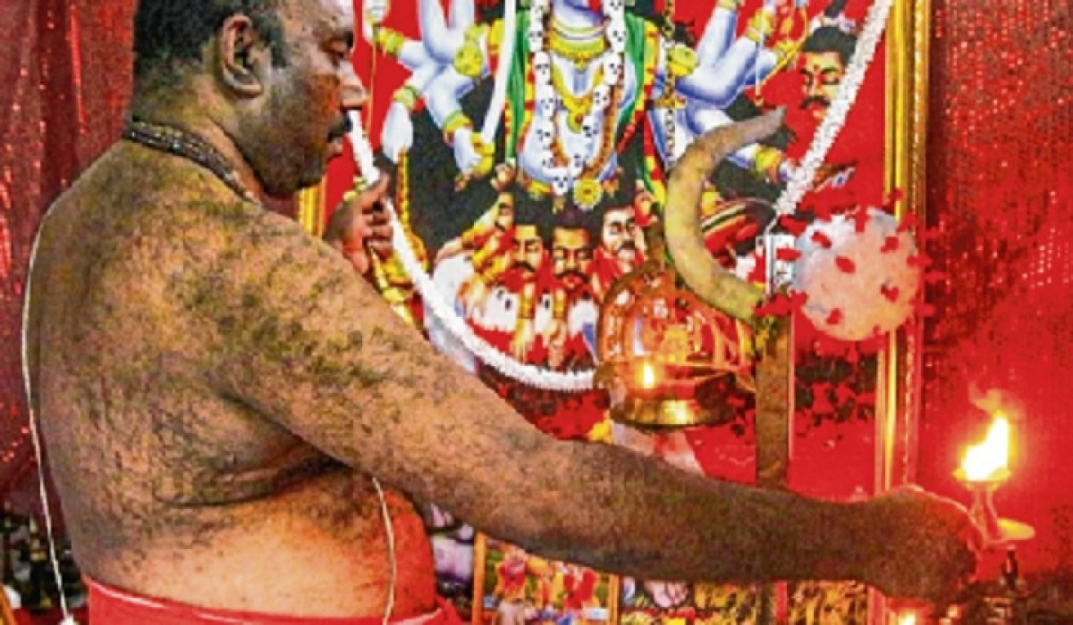 Man conducts daily puja for 'Corona Devi'