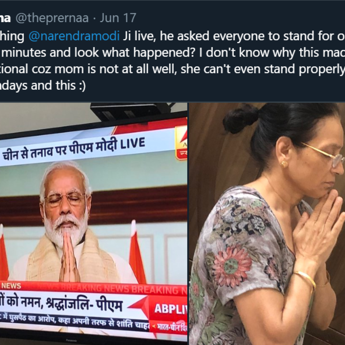 This Twitter user's mother was mocked by 'intellectuals' for standing by PM Modi and Army - here's how she felt