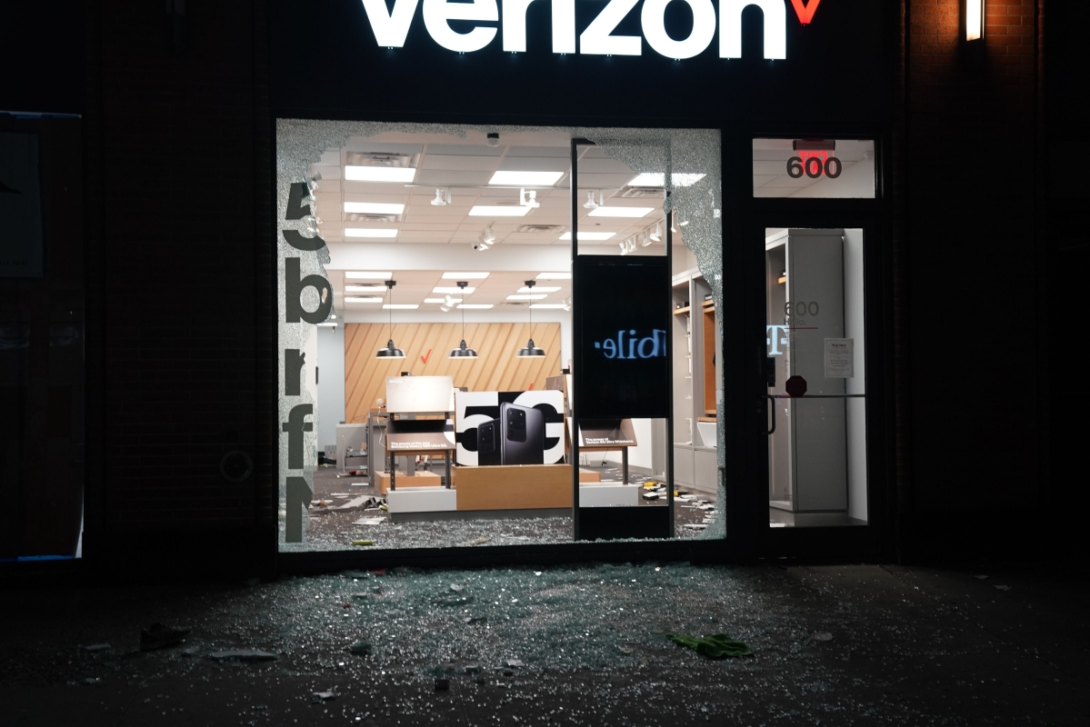 A looted store is pictured during demonstrations over the death of George Floyd by a Minneapolis police officer on June 1, 2020 in New York.