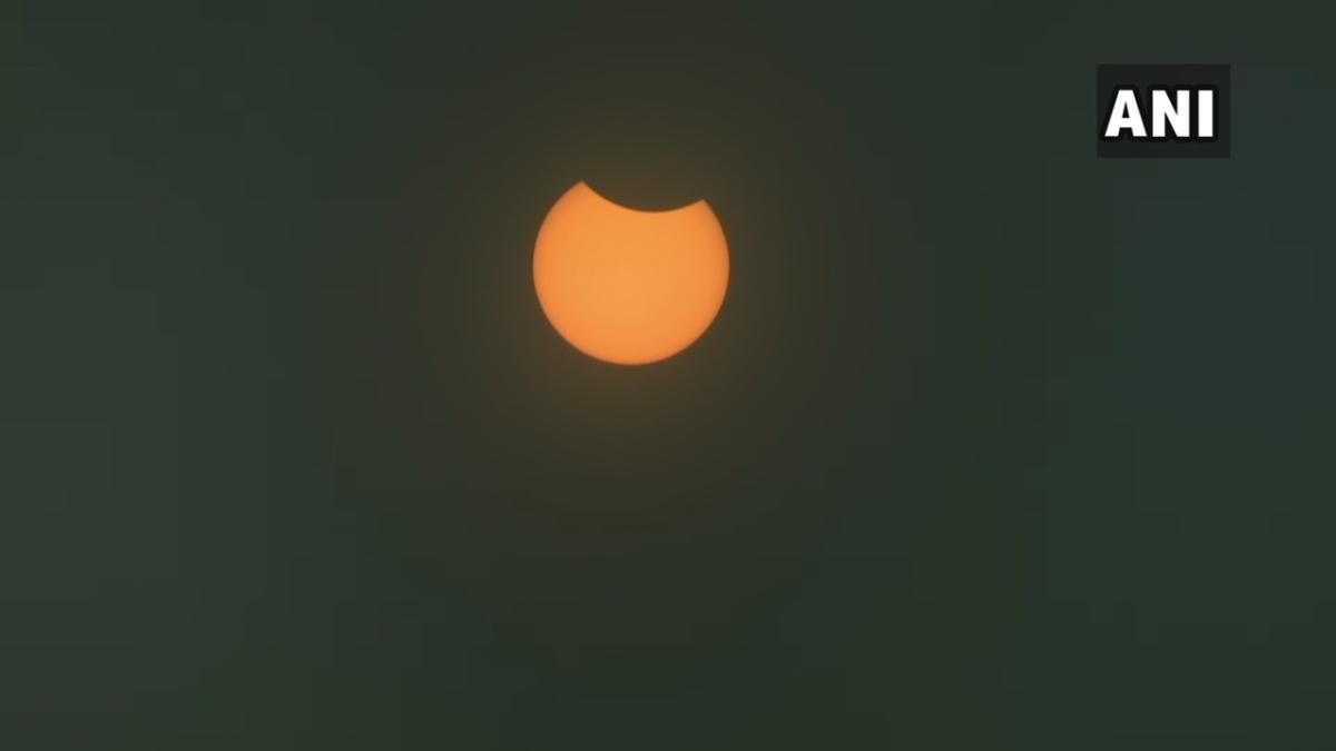Gujarat: #SolarEclipse2020 seen in the skies of Gandhinagar.