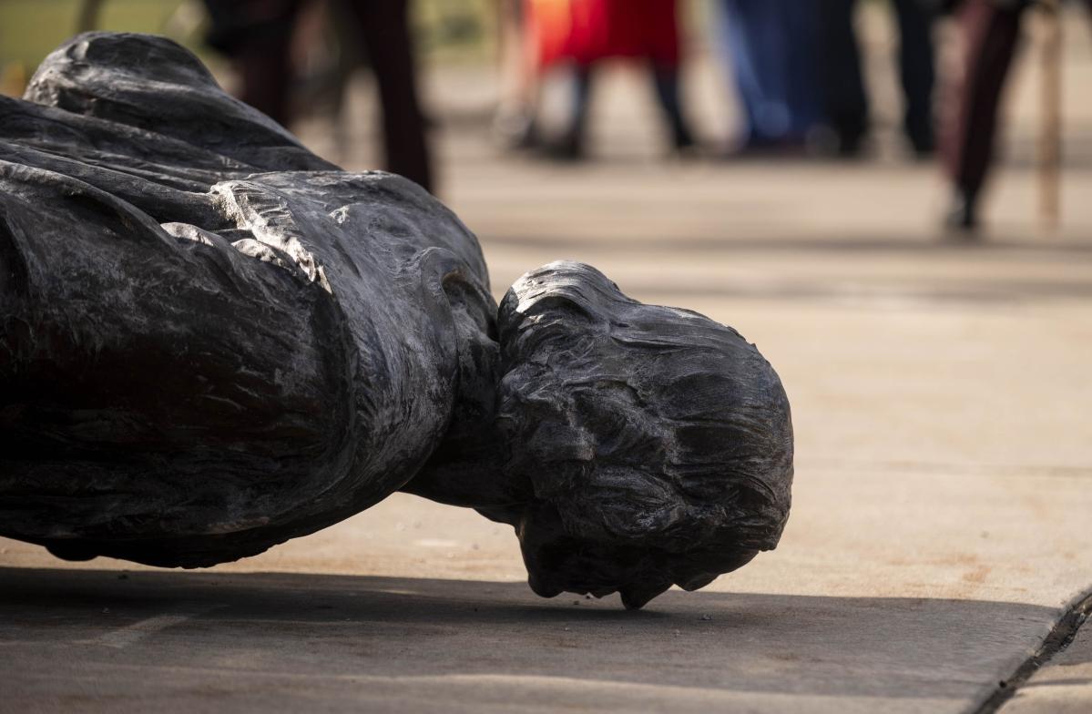 Black Lives Matter protesters vandalise Christopher Columbus statue in Boston