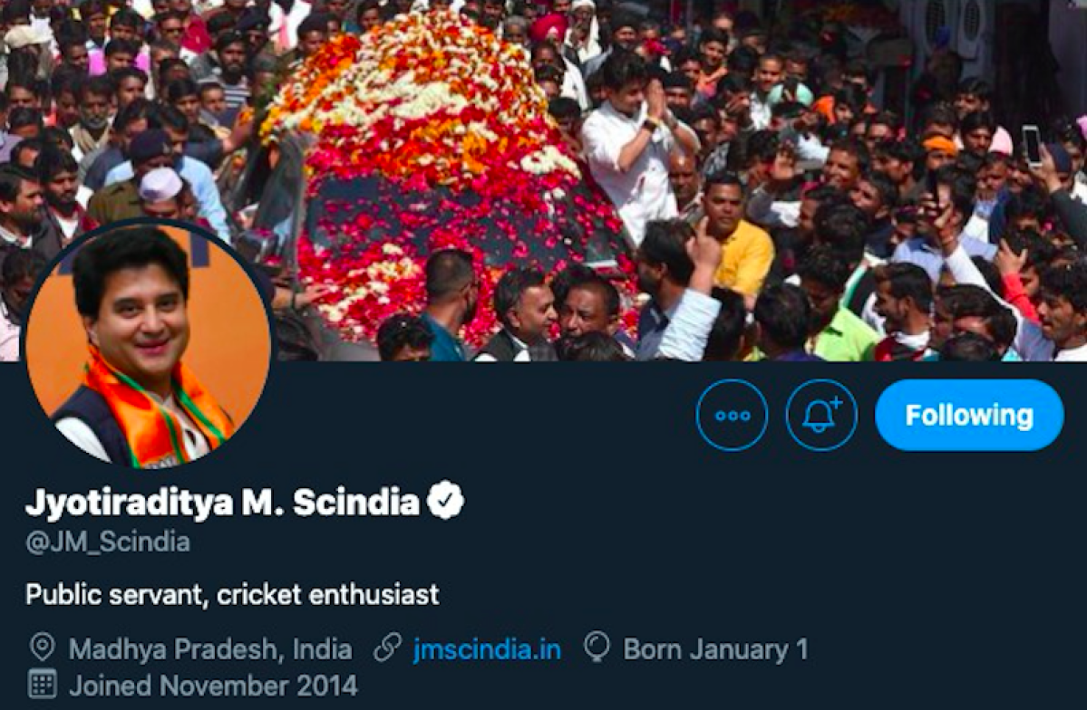 Did Jyotiraditya Scindia even change his Twitter bio? Here's what we know so far