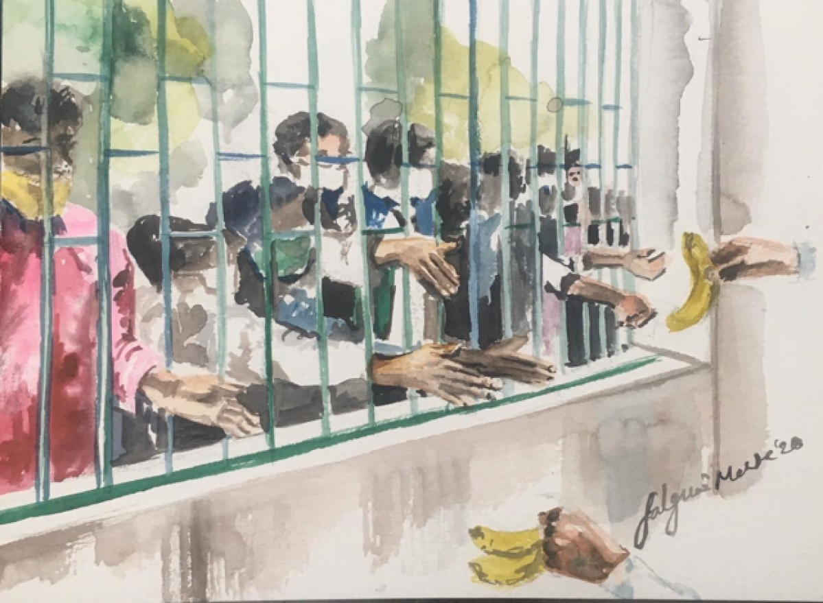 This is nothing new, I have seen a scene like this so many times in the zoo. People offering the 5 rupee banana to the monkeys. Oops, but a little difference here, behind the bars are also people! People who we think are less deserving. We can have exotic Thai curry for dinner. They should be fine with a banana!