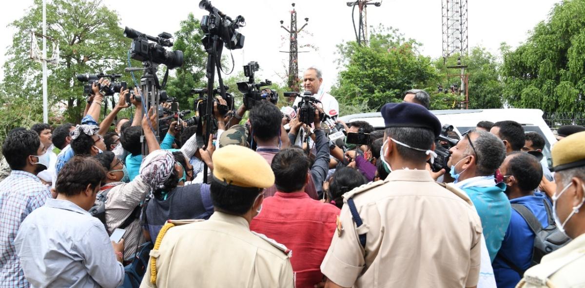 Rajasthan CM Ashok Gehlot during his media interaction on Monda