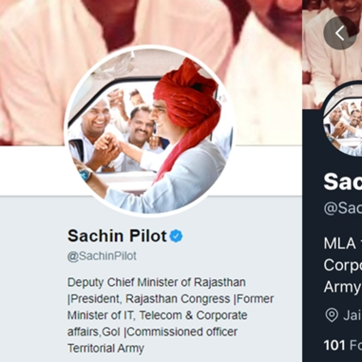 Sachin Pilot changes Twitter bio after being dropped as Deputy CM and Congress party's state unit chief