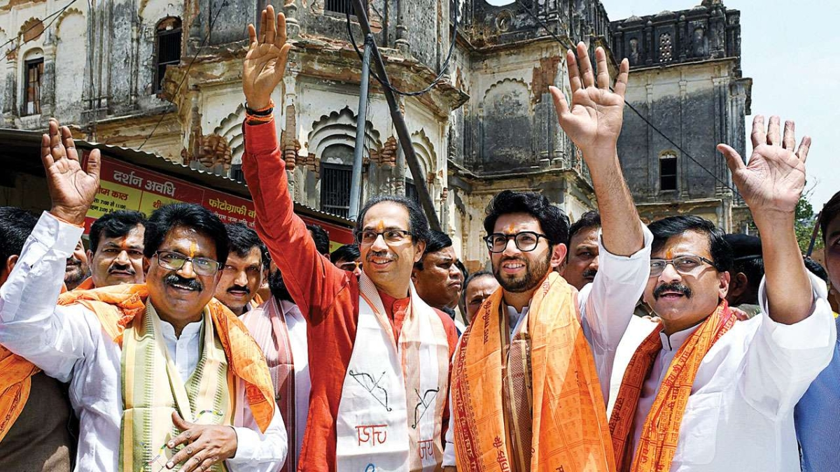 File picture of Arvind Sawant (L), Uddhav Thackeray (2L), Aaditya Thackeray (2R), and Sanjay Raut (R) arriving to offer prayers at the makeshift Ram Lalla temple, in Ayodhya, from 2019