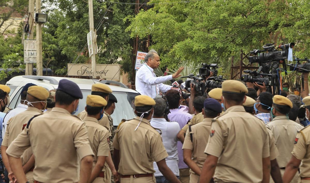 Rajasthan CM Ashok Gehlot addresses the media on Thursday