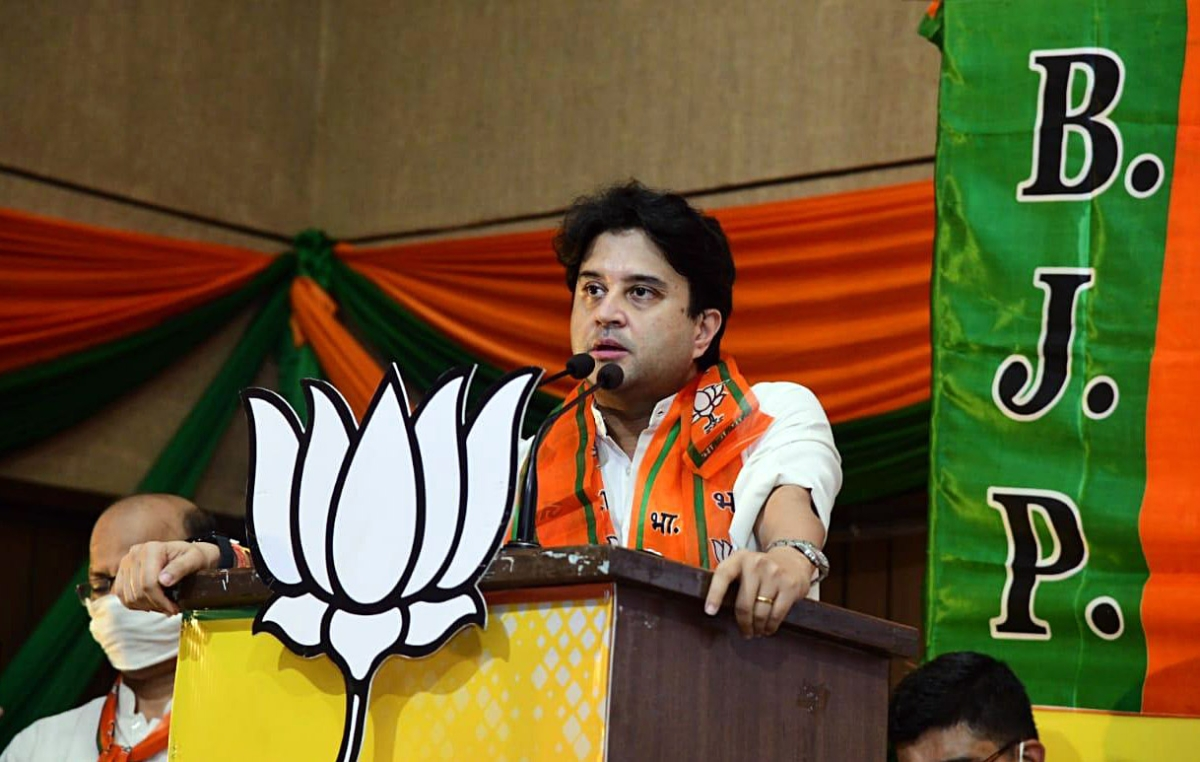 BJP leader Jyotiraditya Scindia addresses party workers during a program, at BJP State headquarters, in Bhopal on Thursday.