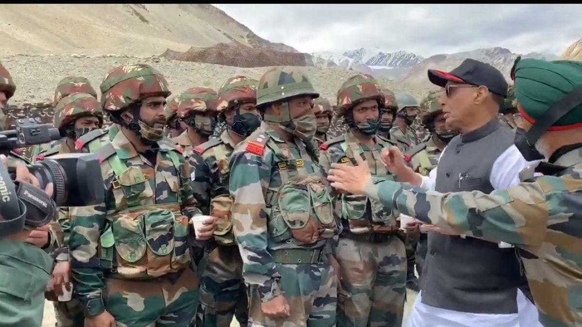 Defence Minister Rajnath Singh meets soldiers of Bihar Regiment