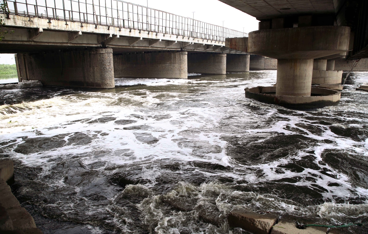Polluted Yamuna river water under the ITO Bridge in New Delhi on Friday