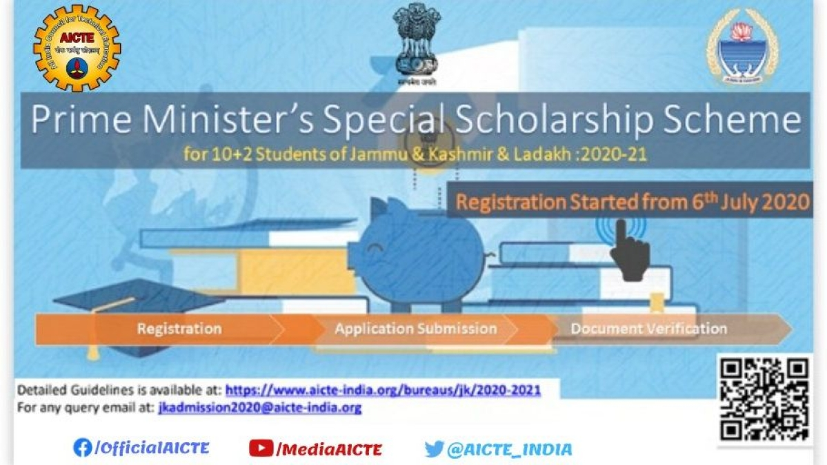 PMSSS 2020-21: Online registrations for students of Jammu & Kashmir and Ladakh are open at aicte-jk-scholarship-gov.in/