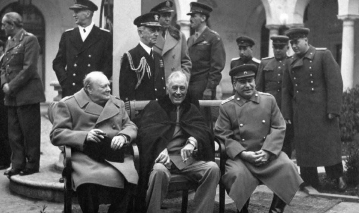 Yalta Conference held in February 1945, with Winston Churchill, Franklin D. Roosevelt and Joseph Stalin. 2020 marks the 75th anniversary of the end of the Second World War, and the establishment of a new world order that would ensure peace in our times