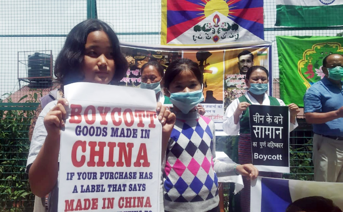 Tibetan community stage protest against Chinese President Xi Jinping over Galwan Valley issue, in Shimla on Monday.