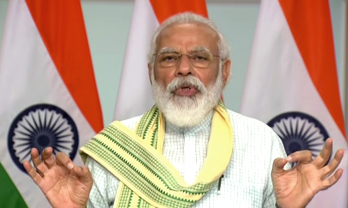 Prime Minister Narendra Modi speaks during dedication of the 750 MW Solar Project of Rewa (Madhya Pradesh) to the nation via video conferencing, in New Delhi on Friday.