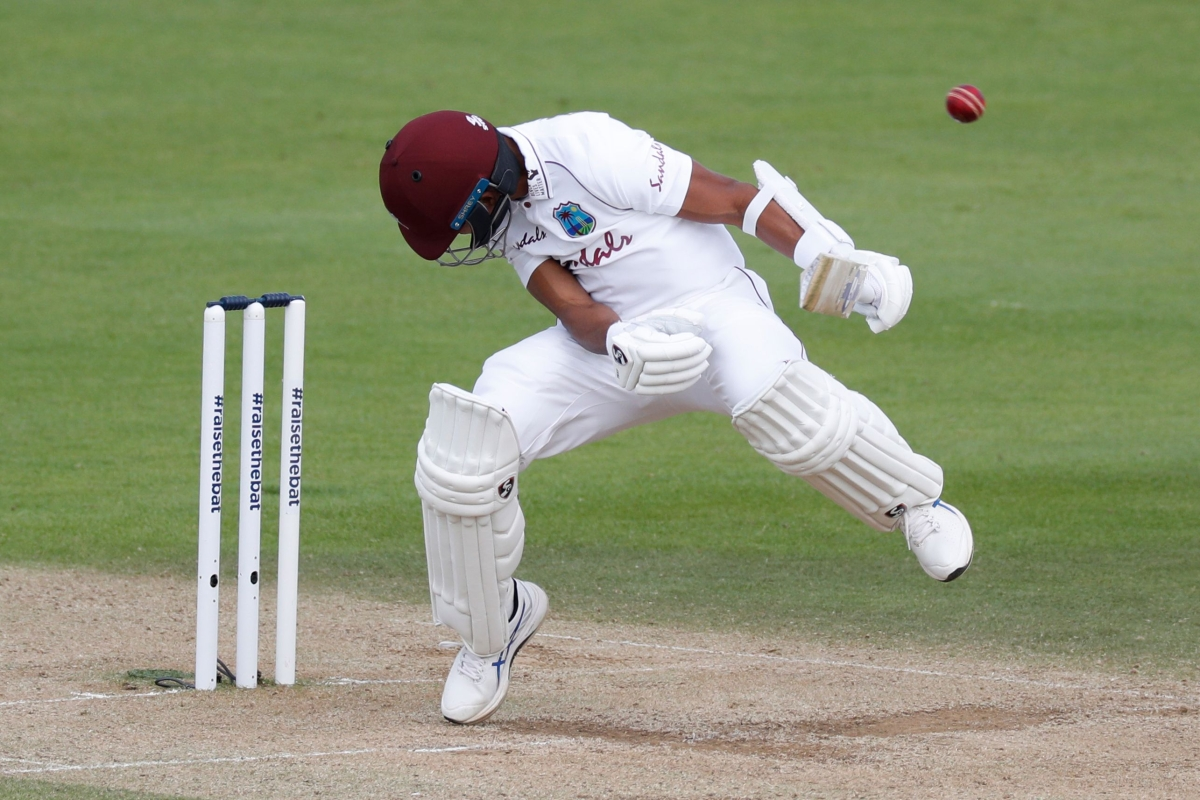 West Indies' Shane Dowrich ducks a bouncer on the third day of the first Test cricket match against England at the Ageas Bowl in Southampton, on Friday