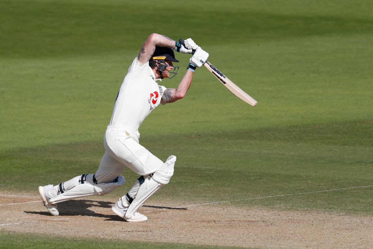 England's Ben Stokes plays a shot on the fourth day of the first Test cricket against West Indies at the Ageas Bowl in Southampton, on Saturday