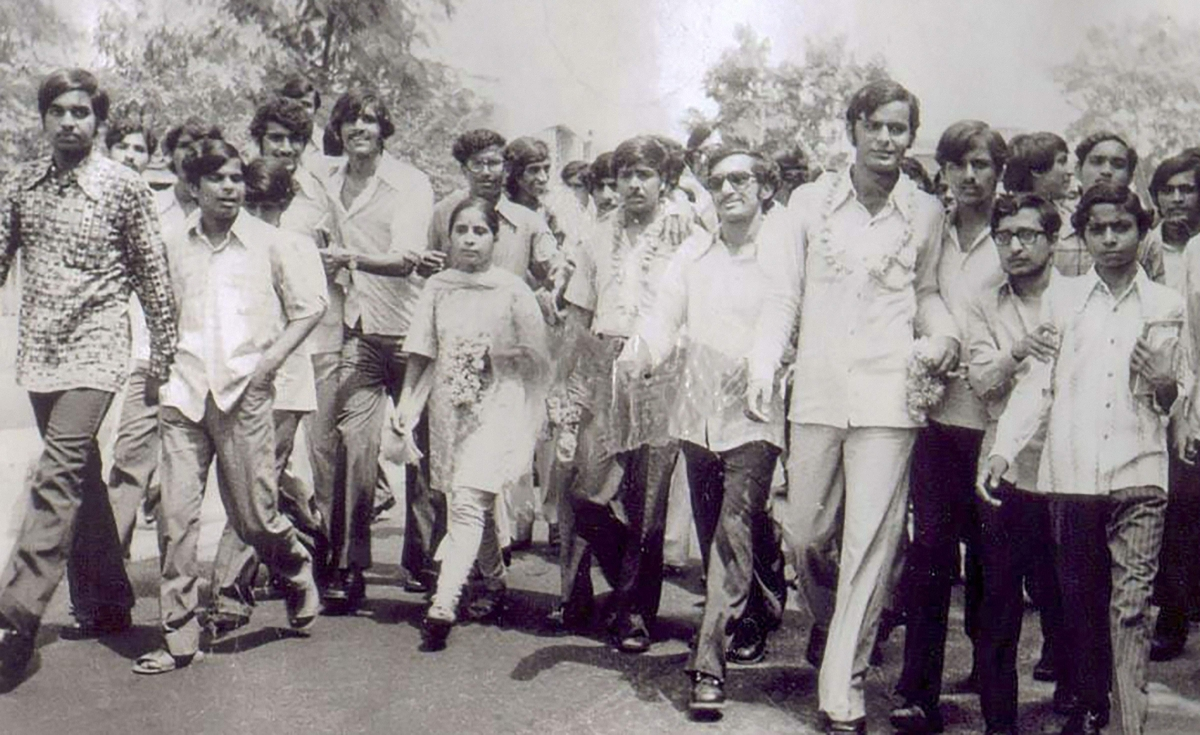 Arun Jaitley (3R) after being elected Delhi University Students' Union president in 1974 in New Delhi.