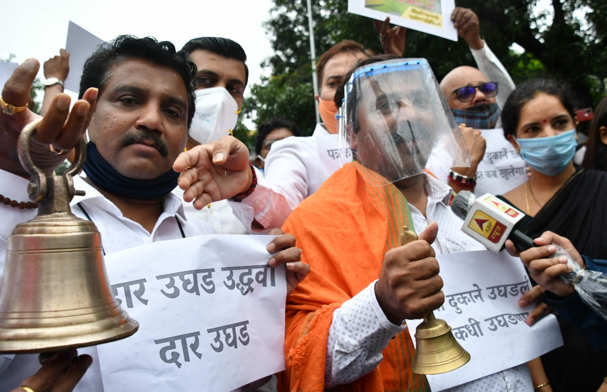 BJP workers stage protest at Sidhivinayak temple at Dadar, demanding reopening of religious places.