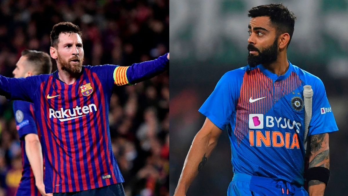 Lionel Messi (L), Virat Kohli (R)