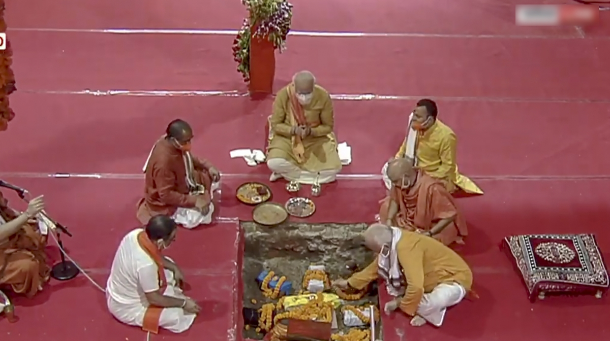 Prime Minister Narendra Modi performs Bhoomi Pujan, at Ram Janmabhoomi site in Ayodhya on Wednesday.