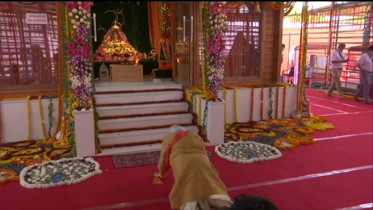Prime Minister Narendra Modi performs sashtang pranam (prostration) while offering prayers to Ram Lalla at Ram Janmabhoomi site in Ayodhya on Wednesday.