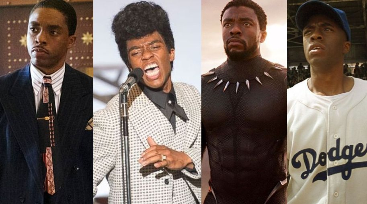 Chadwick Boseman as Thurgood Marshal, James Brown, T'Challa and Jackie Robinson