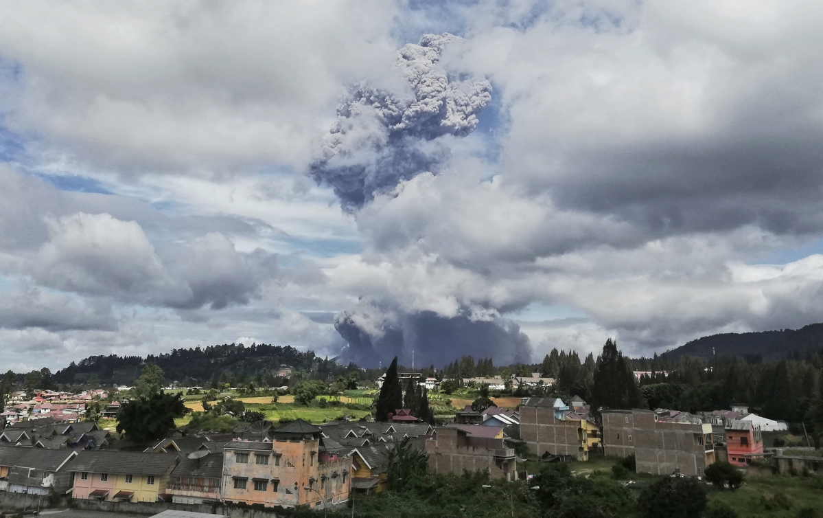Indonesia's Mount Sinabung spews ash 5,000 metres high into sky